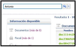 Captura de pantalla del buscador myTAO